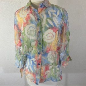 Erin London Small Over Blouse Organza Sheer Floral